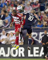 FC Dallas defender Jeremy Hall (17) and New England Revolution forward Rajko Lekic (10) battle for head ball. In a Major League Soccer (MLS) match, the New England Revolution defeated FC Dallas, 2-0, at Gillette Stadium on September 10, 2011.