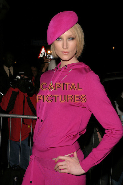 JADE PARFITT.London Fashion Week autumn/winter 2006/07: Philip Treacy for Umbro at the Royal Horticultural Halls & Conference Centre, London, UK..February 16th, 2006.Ref: AH.half length hat purple pink top beret.www.capitalpictures.com.sales@capitalpictures.com.© Capital Pictures.