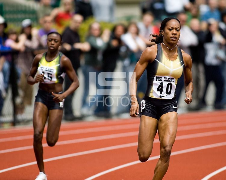 EUGENE, OR--USA's Sanya Richards wins the women's 400m with a time of 50.74 at the Steve Prefontaine Classic, Hayward Field, Eugene, OR. SUNDAY, JUNE 10, 2007. PHOTO © 2007 DON FERIA