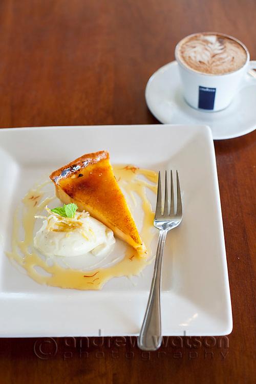 Lemon tart and coffee at Villa Romana Trattoria.  Esplanade, Cairns, Queensland, Australia