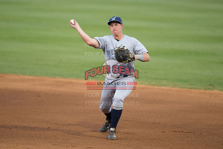 Wilmington Blue Rocks first baseman Frank Schwindel (43) tosses the ball towards first base during the game against the Winston-Salem Dash at BB&T Ballpark on June 10, 2015 in Winston-Salem, North Carolina.  The Blue Rocks defeated the Dash 11-5.  (Brian Westerholt/Four Seam Images)
