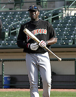 April 26, 2004:  Second baseman Brandon Phillips of the Buffalo Bisons, International League (AAA) affiliate of the Cleveland Indians, during a game at Frontier Field in Rochester, NY.  Photo by:  Mike Janes/Four Seam Images