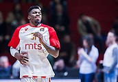 22nd March 2018, Aleksandar Nikolic Hall, Belgrade, Serbia; Turkish Airlines Euroleague Basketball, Crvena Zvezda mts Belgrade versus Fenerbahce Dogus Istanbul; Guard Dylan Ennis of Crvena Zvezda mts Belgrade warms up before the match