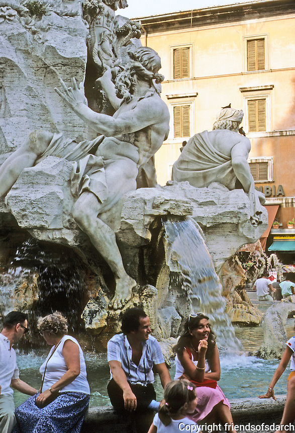 Italy: Rome--Bernini's Fountain, Piazza Navona. Travertine and marble. Topped by restored Egyptian obelisk. Photo '83.