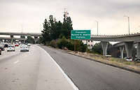 "A sign for the newly named ""President Barack H. Obama Highway"" as seen from the eastbound 134 Freeway (Ventura Freeway) at the Harvey Drive exit (exit 9B) on the border between Glendale and Eagle Rock, Dec. 21, 2018. The sign was installed on Dec. 20, 2018.<br /> The sign commemorates when Barack Obama '83 lived in Los Angeles and Pasadena and attended Occidental College before becoming the 44th president of the United States.<br /> (Photo by Marc Campos, Occidental College Photographer)"