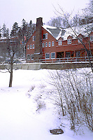 Winter view of the Lutsen Lodge resort on Lake Superior.  Lutsen Minnesota USA