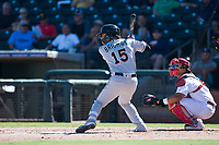Salt River Rafters second baseman Bryson Brigman (15), of the Miami Marlins organization, at bat in front of catcher Jeremy Martinez (4) during an Arizona Fall League game against the Surprise Saguaros on October 9, 2018 at Surprise Stadium in Surprise, Arizona. The Rafters defeated the Saguaros 10-8. (Zachary Lucy/Four Seam Images)