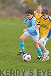 Not so fast: Asdee's.Ryan Henry puts a.stop to the charge.of Killorglin's Niall.O'Connor in their.goalless U-11 Division.One clash on.Saturday morning   Copyright Kerry's Eye 2008