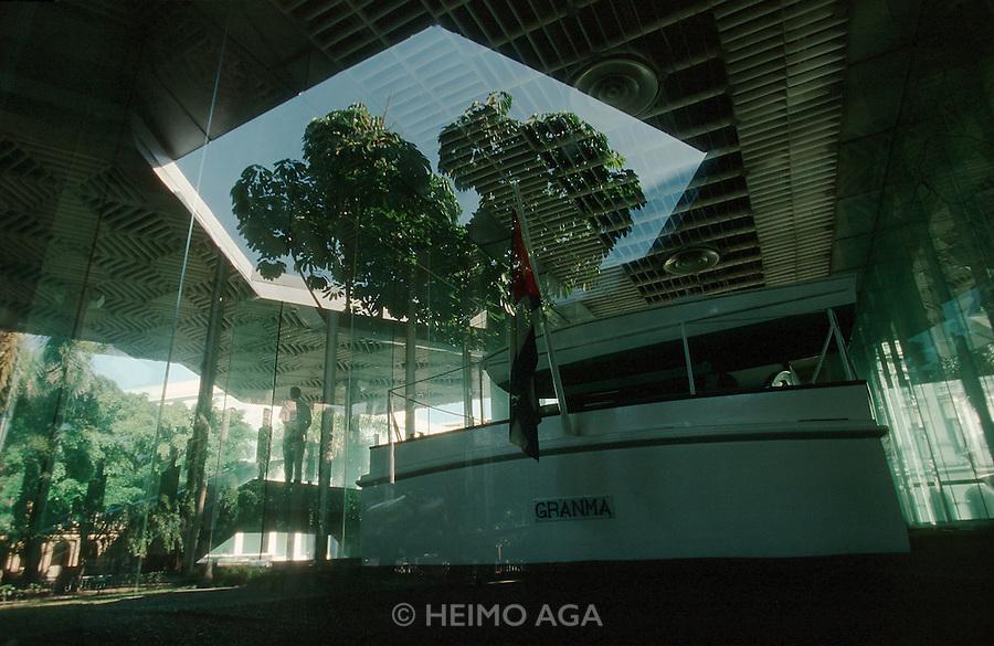 CUBA, HAVANA..Castro's landing vessel, the yacht Granma, at the Museo de la Revolucion (Museum of the Revolution)..(Photo by Heimo Aga)