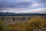 Idaho, South Central, Stanley. Morning in the Stanley Basin with the Sawtooth Mountains and a touch of autumn color on the first day of Autumn.