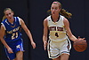 Sydney Rathjen #4 of South Side, right, moves the ball upcourt during a non-league girls basketball game against East Meadow at South Side High School in Rockville Centre on Tuesday, Nov. 27, 2018. South Side won by a score of 68-29.