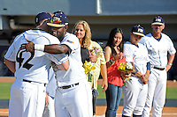 5 May 2012:  FIU's Pablo Bermudez (12) hugs a teammate during the Senior Day Ceremony prior to the game.  The FIU Golden Panthers defeated the Middle Tennessee State University Blue Raiders, 12-6, at University Park Stadium in Miami, Florida.