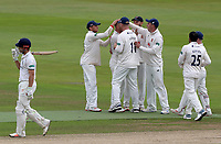 Sam Hain of Warwickshire leaves the pitch as essex players celebrate during Warwickshire CCC vs Essex CCC, Specsavers County Championship Division 1 Cricket at Edgbaston Stadium on 11th September 2019