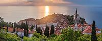Panorama of Piran, Slovenia at sunset, and the Mediterranean Sea, seen from Piran Town Walls, Slovenian Istria, Slovenia, Europe