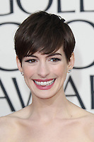 BEVERLY HILLS, CA - JANUARY 13: Anne Hathaway at the 70th Annual Golden Globe Awards at the Beverly Hills Hilton Hotel in Beverly Hills, California. January 13, 2013. Credit: mpi29/MediaPunch Inc. /NortePhoto
