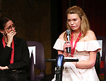 Julie Taymor and Madison Ferris on stage at the The Lilly Awards  at Playwrights Horizons on May 22, 2017 in New York City.