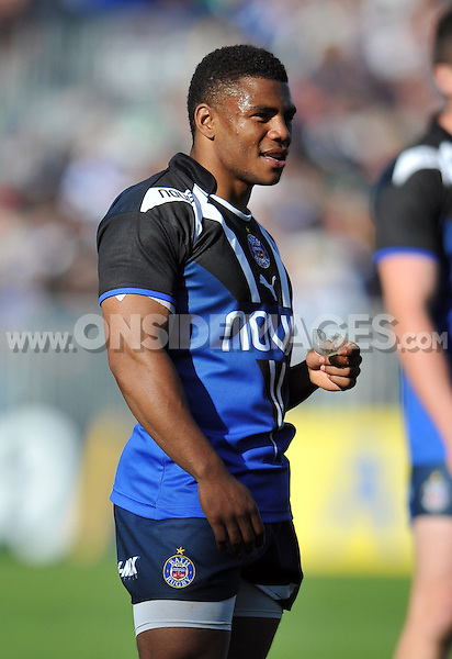 Kyle Eastmond looks on during a break in play. Aviva Premiership match, between Bath Rugby and Sale Sharks on September 29, 2012 at the Recreation Ground in Bath, England. Photo by: Patrick Khachfe / Onside Images