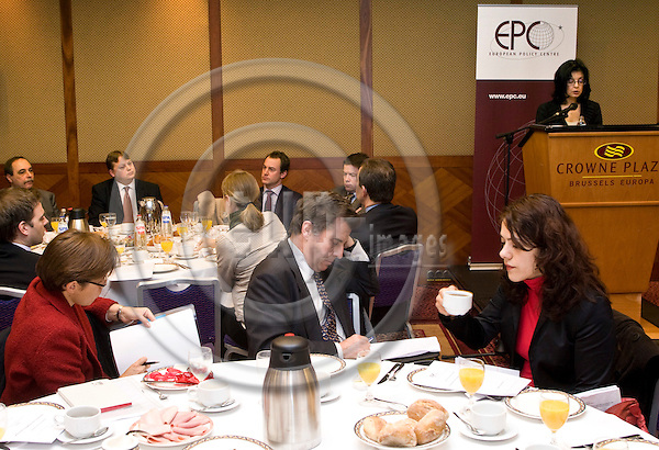BRUSSELS - BELGIUM - 22 JANUARY 2008 -- EPC - Breakfast Policy Briefing - Consumers: the competitive advantage -- General photos of audience during the meeting, with Meglena Kuneva, European Commissioner for Consumer protection on the podium. -- PHOTO: Juha ROININEN / EUP-IMAGES