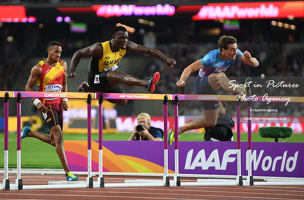 Omar MCLEOD (JAM) jumps the last hurdle in the lead. Mens 110m hurdles final. IAAF world athletics championships. London Olympic stadium. Queen Elizabeth Olympic park. Stratford. London. UK. 07/08/2017. ~ MANDATORY CREDIT Garry Bowden/SIPPA - NO UNAUTHORISED USE - +44 7837 394578