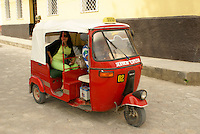 Tuk tuk on a street in the Spanish colonial town of Gracias, Lempira, Honduras......