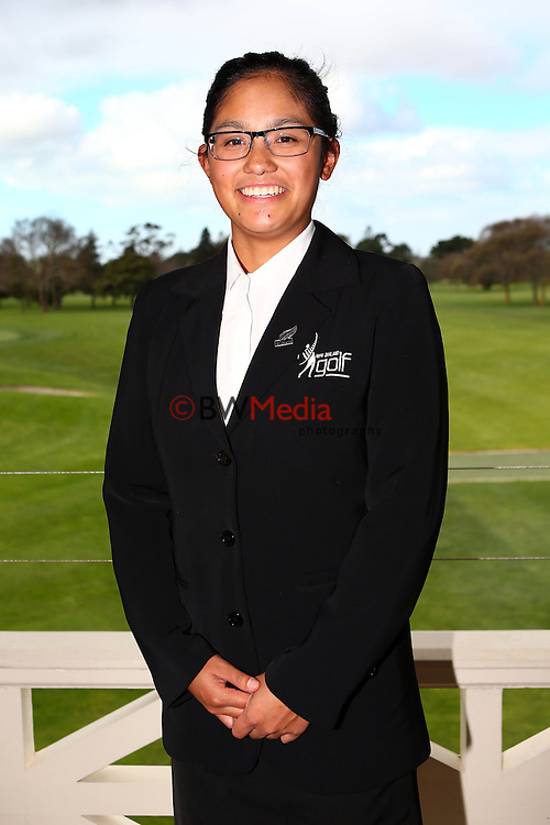 Julianne Alvarez. Espirito Santo Team Photoshoot, Royal Auckland Golf Course, Manukau, Auckland, Friday 8 August 2014. Photo: Simon Watts/www.bwmedia.co.nz <br /> All images &copy; NZ Golf and BWMedia.co.nz