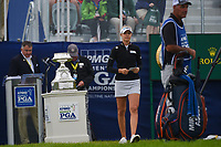 Nelly Korda (USA) walks near the trophy on the first tee before round 4 of the KPMG Women's PGA Championship, Hazeltine National, Chaska, Minnesota, USA. 6/23/2019.<br /> Picture: Golffile | Ken Murray<br /> <br /> <br /> All photo usage must carry mandatory copyright credit (© Golffile | Ken Murray)