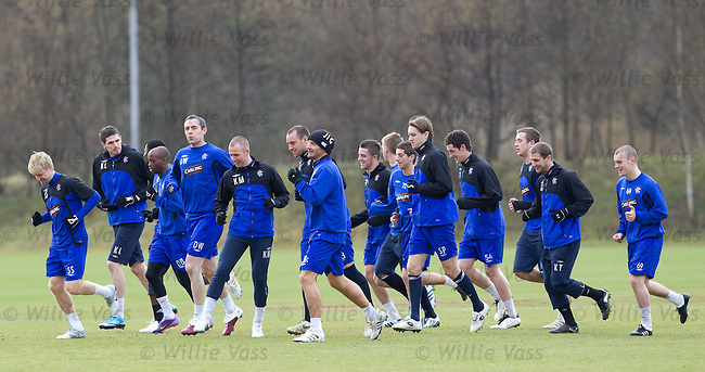 A happy looking Rangers squad at training