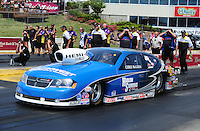 May 19, 2012; Topeka, KS, USA: NHRA pro stock driver Chris McGaha during qualifying for the Summer Nationals at Heartland Park Topeka. Mandatory Credit: Mark J. Rebilas-