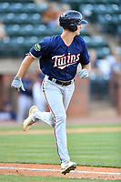 Elizabethton Twins Matt Wallner (48) runs to first base during a game against the Greenville Reds at Pioneer Park on June 29, 2019 in Greeneville, Tennessee. The Twins defeated the Reds 8-1. (Tony Farlow/Four Seam Images)
