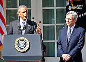 United States President Barack Obama, left, introduces Judge Merrick Garland, chief justice for the US Court of Appeals for the District of Columbia Circuit, right, as his nominee to replace the late Associate Justice Antonin Scalia on the U.S. Supreme Court in the Rose Garden of the White House in Washington, D.C. on Wednesday, March 16, 2016. <br />