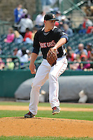 Matt Duffey (51) of the New Britain Rock Cats delivers a pitch during a game against the Trenton Thunder at New Britain Stadium on May 7, 2014 in New Britain, Connecticut.  Trenton defeated New Britain 6-4.  (Gregory Vasil/Four Seam Images)