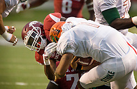 Hawgs Illustrated/BEN GOFF <br /> Randy Ramsey, Arkansas linebacker, sacks Florida A&M quarterback Vincent Jefferies in the first quarter Thursday, Aug. 31, 2017, during the game at War Memorial Stadium in Little Rock.