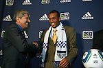 14 January 2010: Teal Bunbury was selected with the #4 overall pick by the Kansas City Wizards. With Octavio Zambrano (left). The 2010 MLS SuperDraft was held in the Ballroom at Pennsylvania Convention Center in Philadelphia, PA during the NSCAA Annual Convention.