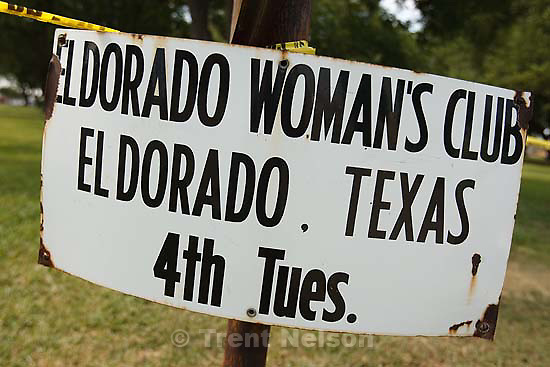 Eldorado - at the Schleicher County Courthouse Wednesday, June 25, 2008, where a grand jury met to hear evidence of possible crimes involving FLDS church members from the YFZ ranch. Eldorado Woman's Club sign