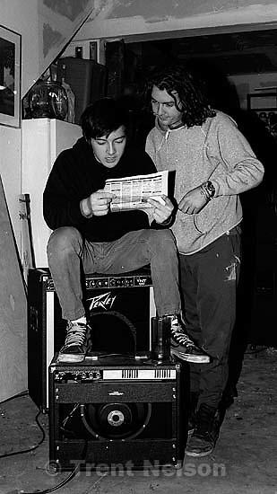Don Rossington, Gary Mole at Rabid Lassie practice at Jason's house.<br />