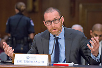 """Thomas Rid, Professor, Department of War Studies, King's College, London, testifies before the US Senate Select Committee on Intelligence conducting an open hearing titled """"Disinformation: A Primer in Russian Active Measures and Influence Campaigns"""" on Capitol Hill in Washington, DC on Thursday, March 30, 2017. Photo Credit: Ron Sachs/CNP/AdMedia"""