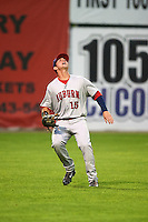 Auburn Doubledays outfielder Matthew Page (15) catches a fly ball during a game against the Batavia Muckdogs on July 8, 2015 at Dwyer Stadium in Batavia, New York.  Batavia defeated Auburn 4-1.  (Mike Janes/Four Seam Images)