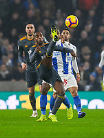Leicester City's Ricardo Pereira (left) under pressure from Brighton & Hove Albion's Jose Izquierdor (right) <br /> <br /> Photographer David Horton/CameraSport<br /> <br /> The Premier League - Brighton and Hove Albion v Leicester City - Saturday 24th November 2018 - The Amex Stadium - Brighton<br /> <br /> World Copyright © 2018 CameraSport. All rights reserved. 43 Linden Ave. Countesthorpe. Leicester. England. LE8 5PG - Tel: +44 (0) 116 277 4147 - admin@camerasport.com - www.camerasport.com