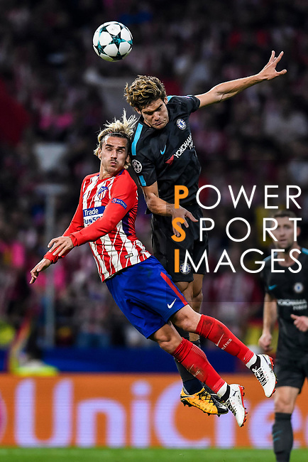 Antoine Griezmann (l) of Atletico de Madrid battles for the ball with Marcos Alonso of Chelsea FC during the UEFA Champions League 2017-18 match between Atletico de Madrid and Chelsea FC at the Wanda Metropolitano on 27 September 2017, in Madrid, Spain. Photo by Diego Gonzalez / Power Sport Images