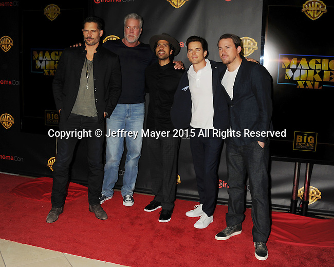 LAS VEGAS, CA - APRIL 21: (L-R) Actors Joe Manganiello, Kevin Nash, Adam Rodriguez, Matt Bomer and Channing Tatum arrive at Warner Bros. Pictures Invites You to ?The Big Picture at The Colosseum at Caesars Palace during CinemaCon, the official convention of the National Association of Theatre Owners, on April 21, 2015 in Las Vegas, Nevada.