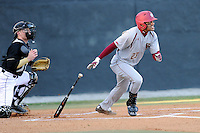 Center fielder Gabriel Hernandez (23) of the Boston College Eagles bats in a game against the Wofford College Terriers on Friday, February 13, 2015, at Russell C. King Field in Spartanburg, South Carolina. Wofford won, 8-4. (Tom Priddy/Four Seam Images)