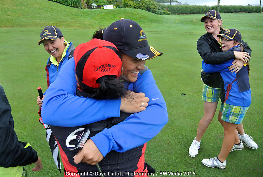 The Bay of Plenty team celebrate making the final. 2016 Toro Women's Interprovincial Golf Championship at Westown Golf Club in New Plymouth, New Zealand on Saturday, 10 December 2016. Photo: Dave Lintott / lintottphoto.co.nz