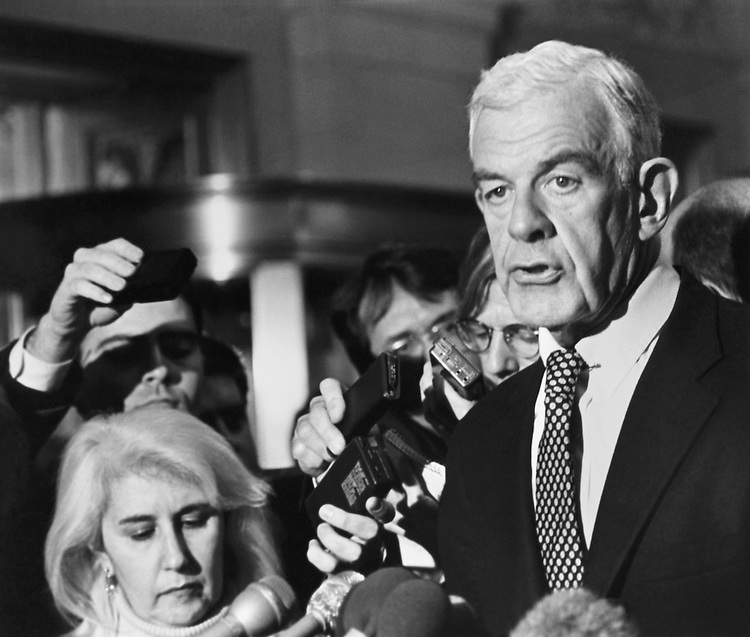 "Speaker of the House Rep. Thomas Stephen ""Tom"" Foley, D-Wash speaks at a House Bank press conference in the Longworth lobby after demonstration meeting. March 12, 1992 (Photo by Maureen Keating/CQ Roll Call)"