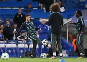 12th September 2017, Stamford Bridge, London, England; UEFA Champions League Group stage, Chelsea versus Qarabag FK; Eden Hazard of Chelsea during pre match warm up with David Luiz of Chelsea and Victor Moses of Chelsea