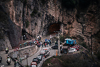 peloton emerging from a tunnel<br /> <br /> 76th Paris-Nice 2018<br /> Stage 7: Nice > Valdeblore La Colmiane (175km)