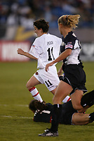 Saskia Webber of the NY Power fouls Marinette Pichon of the Philadelphia Charge in the 88th minute. Webber was red carded, and Philadelphia scored on a penalty kick to defeat the Power 2-1, at Mitchell Athletic Complex on April 27.