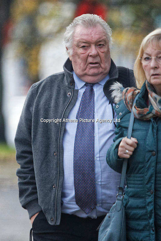 Pictured: Brian Jenkins (L), outside Brecon Crown Court in Wales, UK. Monday 05 November 2018.<br /> Re: Brian Jenkins, 74, of Redditch, Worcestershire, is accused of sexually abuse at a Jehovah's Witness church in Brecon mid Wales is the 1970s, by taking advantage of the religion's ban on females wearing trousers.