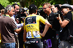 Race leader Geraint Thomas (WAL) Team Sky talks with media at sign on before the start of Stage 15 of the 2018 Tour de France running 181.5km from Millau to Carcassonne, France. 22nd July 2018. <br /> Picture: ASO/Alex Broadway | Cyclefile<br /> All photos usage must carry mandatory copyright credit (&copy; Cyclefile | ASO/Alex Broadway)