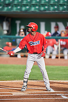 D'Shawn Knowles (32) of the Orem Owlz bats against the Ogden Raptors at Lindquist Field on June 20, 2019 in Ogden, Utah. The Owlz defeated the Raptors 11-8. (Stephen Smith/Four Seam Images)