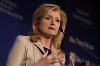 Arianne Huffington at the CORIM tribune , February 8, 2012.<br /> <br /> File Photo : Agence Quebec Presse -  Pierre Roussel
